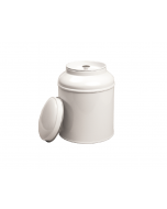 Bote metálico con tapa cúpula blanco - Grande
