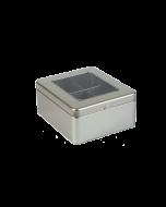 Caja metálica con ventana para te con 4 compartimentos