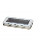 Caja metálica para bolígrafos con ventana