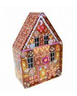 Caja metal galletas casita navideña